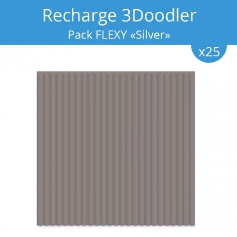 "Recharge 3Doodler : pack Flexy ""Silver"""