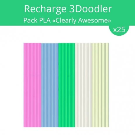 Recharge 3Doodler : pack PLA Clearly Awesome