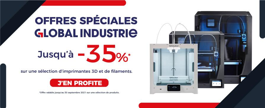 Offres spéciales Global Industrie jusqu'à -35% sur une sélection d'imprimantes 3D et de filaments